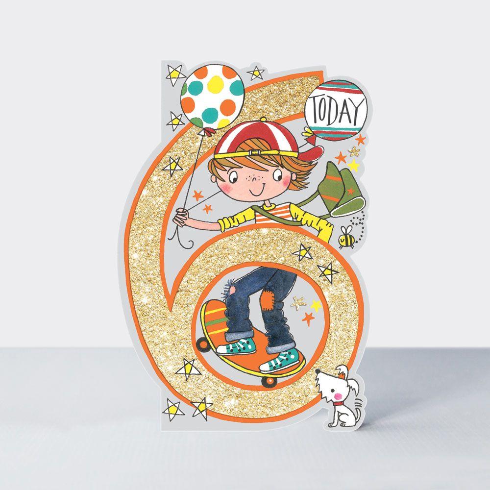 6th Birthday Card Boy - SKATEBOARDER Birthday CARD - 6  TODAY - Skateboardi