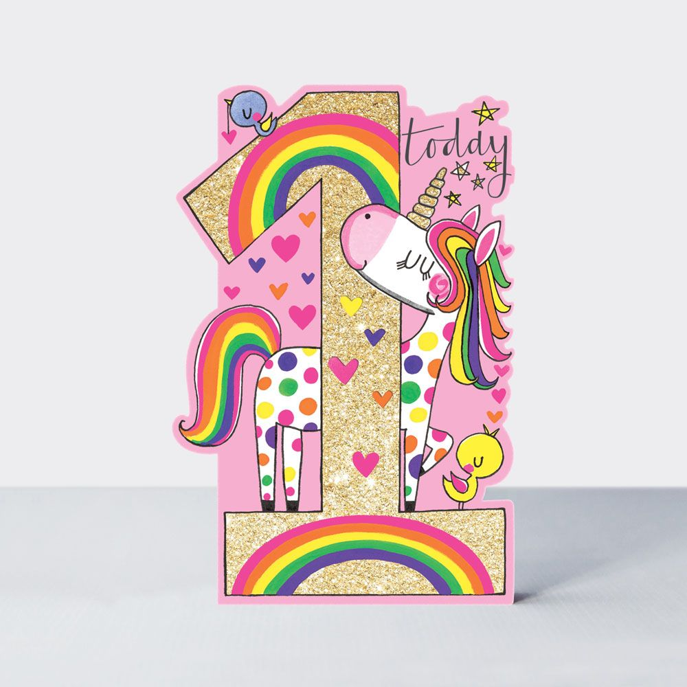 1st Birthday Card Girl - UNICORN Card - 1 TODAY - Happy 1st BIRTHDAY Daught