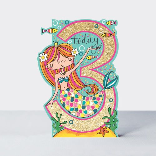 3rd Birthday Card Girl - MERMAID 3 TODAY BIRTHDAY Card - MERMAID Card - 3rd
