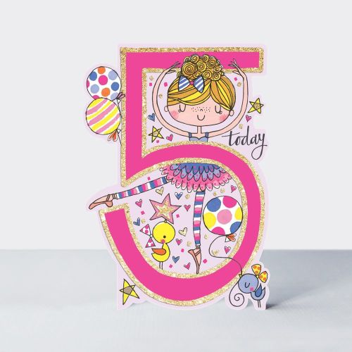 5th Birthday Card Girl - BALLERINA Birthday CARD - 5 TODAY Children's BIRTH