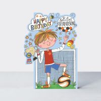 Birthday Card for Grandson - HAPPY BIRTHDAY Greeting Card - To A SPECIAL Grandson - FOOTBALL Birthday Card for CHILDREN - Grandson BIRTHDAY CARD