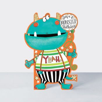 Monster Birthday Cards - HAVE A Monster BIRTHDAY - Silly MONSTER Birthday CARDS For KIDS - BIRTHDAY Card For SON - Brother - Grandson - NEPHEW