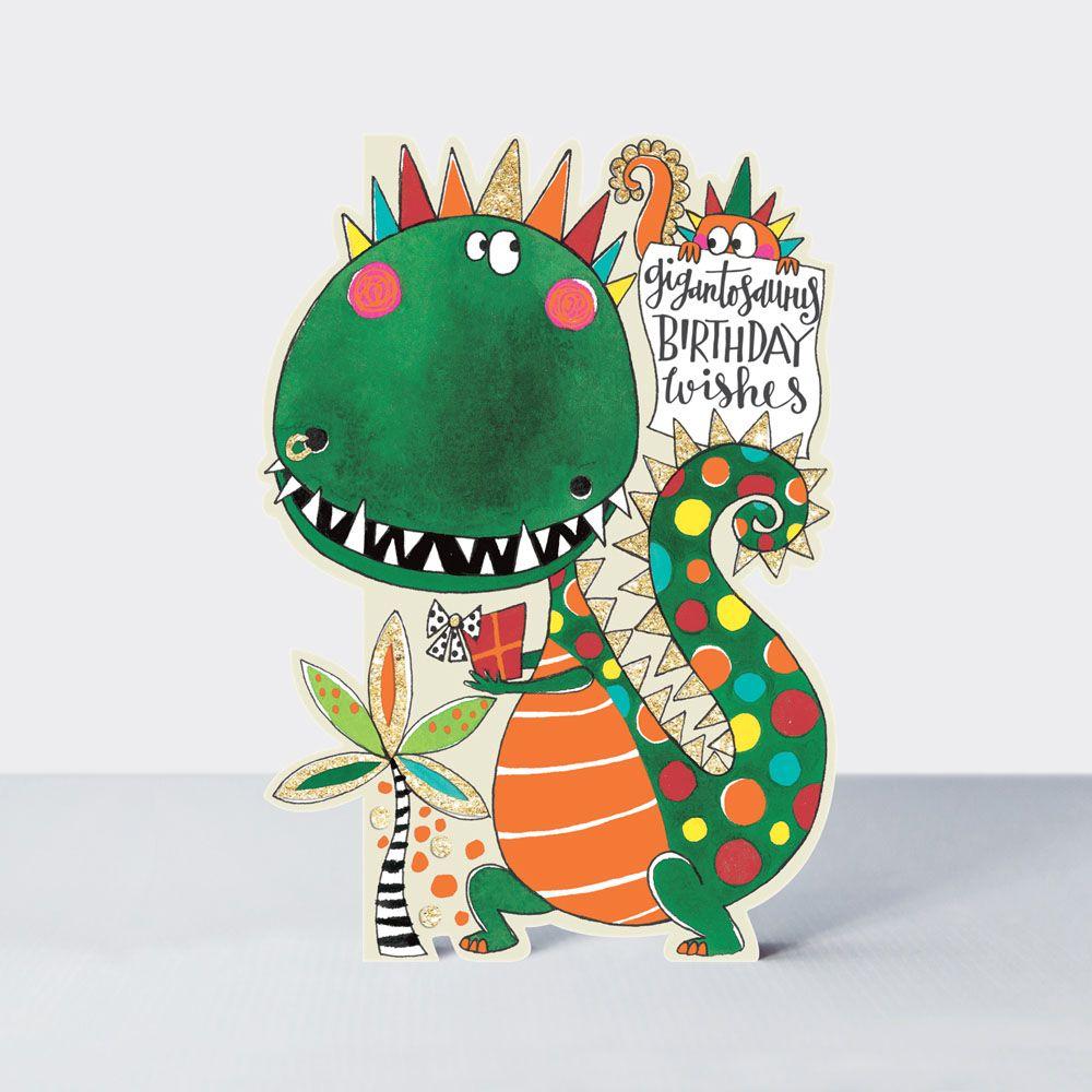 Dinosaur Card - DINOSAUR Birthday Cards - GIGANTOSAURUS Birthday WISHES - D