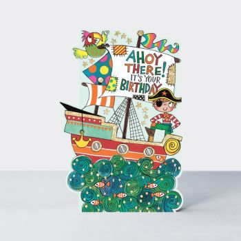 Pirate Birthday Card - AHOY There IT'S Your BIRTHDAY - FUNNY Pirate Birthday CARDS - Kids BIRTHDAY Card - Pirate SHIP Card FOR Son - Grandson - Nephew