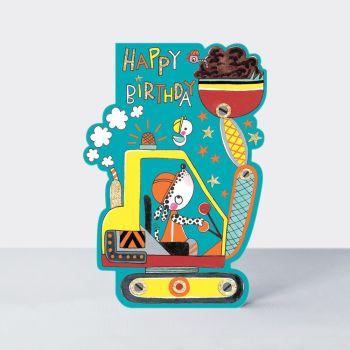 Digger Birthday Cards - BIRTHDAY Cards FOR BOYS - Happy BIRTHDAY - Cute DOG Card - DIGGER & Trucks CARDS - Birthday CARD For SON - Grandson - BROTHER