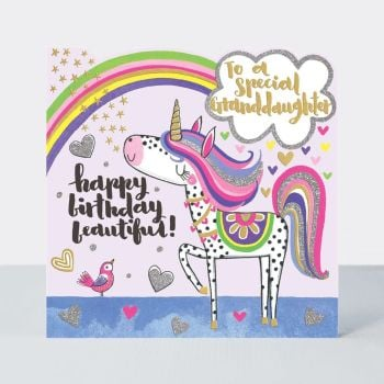 Birthday Card for Granddaughter - SPARKLY Birthday Card - TO A Special GRANDDAUGHTER - Happy BIRTHDAY Beautiful - UNICORN Card