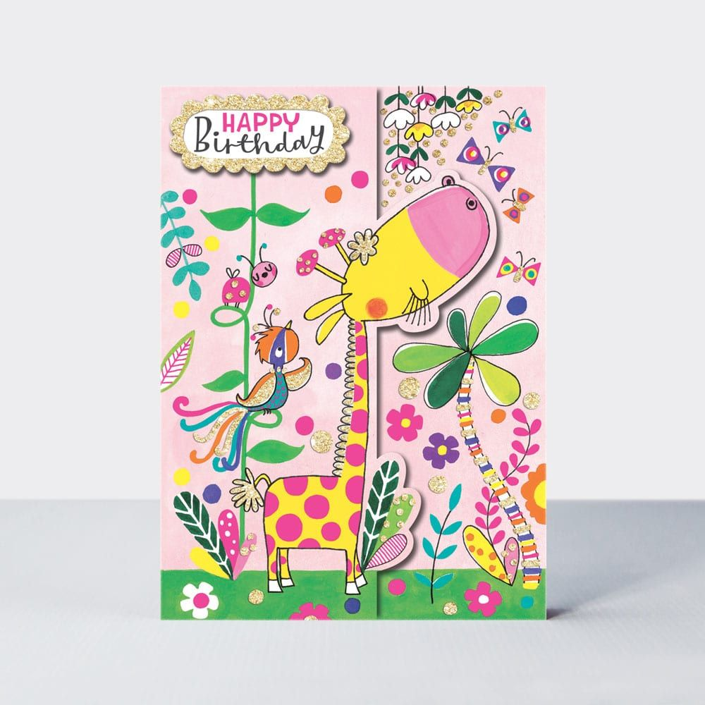 Birthday Card Girl - Happy BIRTHDAY - Giraffe BIRTHDAY Card - JUNGLE Birthd