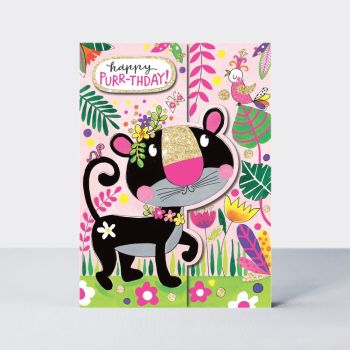 Birthday Card Girl - PRETTY Cat BIRTHDAY Card - Happy PURR-THDAY - Sparkly BIRTHDAY Card -  JUNGLE Birthday CARD - KIDS Birthday CARD - Card FOR Girl