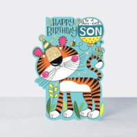 Birthday Card Son - Tiger BIRTHDAY Card - HAPPY Birthday - To A Grrr-eat SON - CHILDREN'S Birthday Card - CARD For SON - Tiger BIRTHDAY Greeting CARD