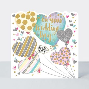 Wedding Cards - On YOUR Wedding DAY - DECORATED Balloons Wedding Day CARD - WITH Love WEDDING Card - WEDDING Greeting CARDS