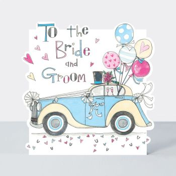 Wedding Cards - To the BRIDE & GROOM - Vintage CAR & Balloons Wedding Card - WEDDING Car/WEDDING Day CARD - CAR Wedding CARD - Bride & GROOM