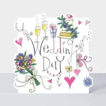Wedding Cards - WEDDING Day - Wedding CONGRATULATIONS Cards - WEDDING Greeting CARDS - Pretty Wedding DAY Card - CHAMPAGNE & Flowers