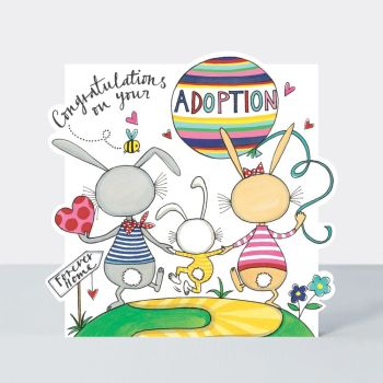 Adoption Cards - CONGRATULATIONS On Your ADOPTION - Congratulation CARDS Adoption - BUNNY Family ADOPTION Card - Adoption GREETING Card