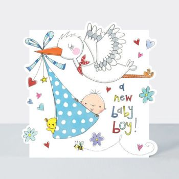New Baby Boy Cards - A NEW Baby BOY - BABY & Stork Card - NEW Baby CARD - Baby BOY Cards - NEWBORN Baby Boy CARDS - CUTE Baby CARDS