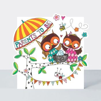 New Parents Card - PARENTS To BE - CUTE New PARENTS Card - BABY Congratulations CARDS - New BABY Owls CARD - New PARENTS