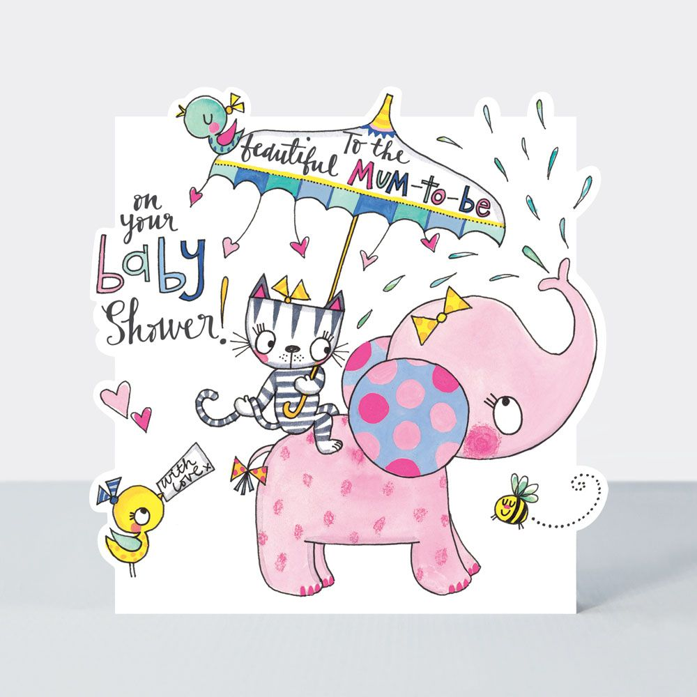 Baby Shower Cards - TO The BEAUTIFUL Mum to BE - Cute ELEPHANT & Umbrella B