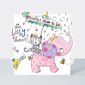 Baby Shower Cards - TO The BEAUTIFUL Mum to BE - Cute ELEPHANT & Umbrella BABY Shower GREETING CARD - Baby ELEPHANT GREETING Card - BABY Shower CARD