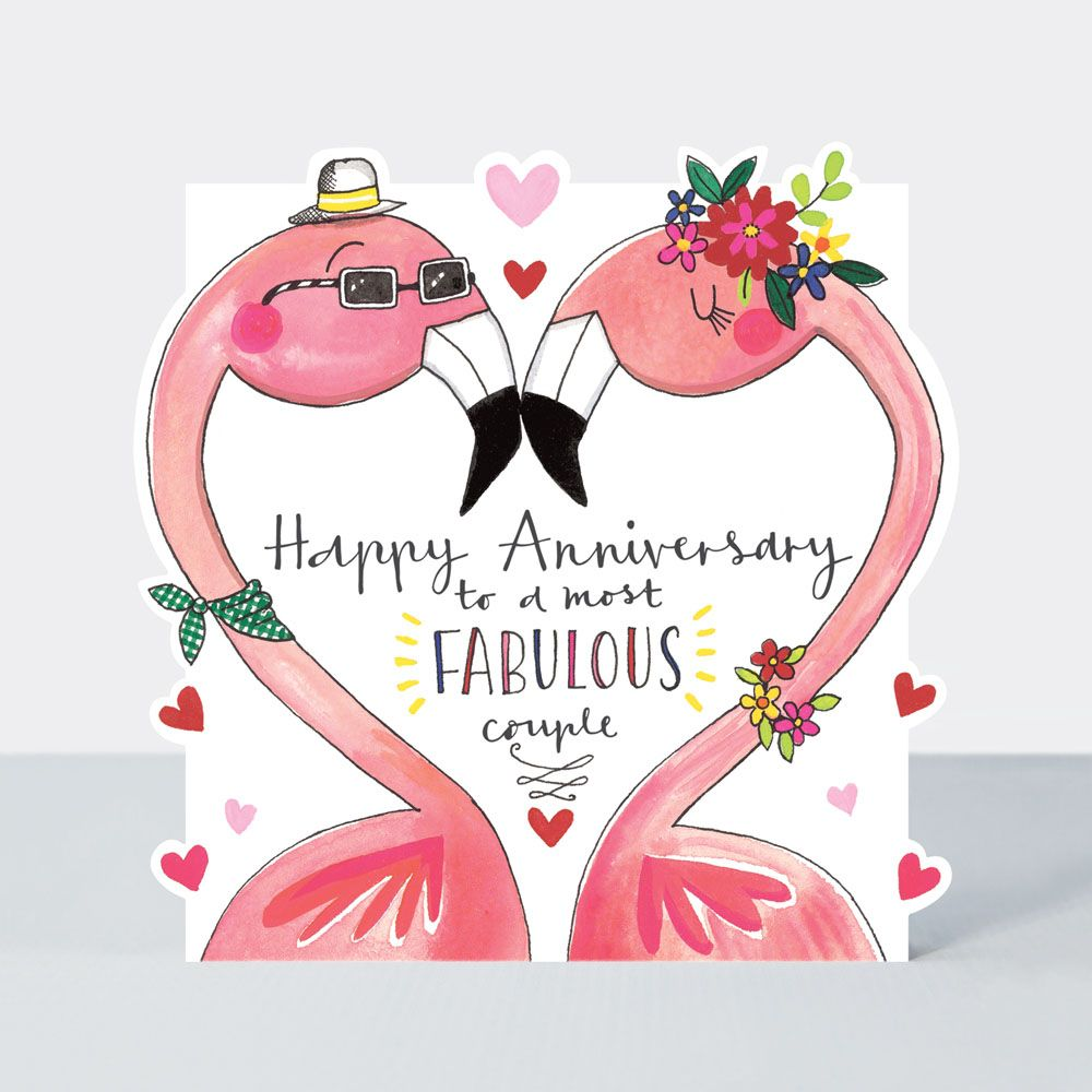 Flamingo's Fabulous Couple Happy Anniversary Card - HAPPY Anniversary FLAMI