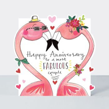 Flamingo Anniversary - A Most FABULOUS Couple - HAPPY Anniversary FLAMINGO Card - COUPLE Anniversary CARDS - Funny ANNIVERSARY Cards - ANNIVERSARY