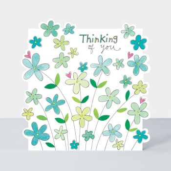 Thinking Of You Greeting Card - PRETTY Flowers SYMPATHY Card - Thoughtful FRIEND Card - CARING Greeting CARD