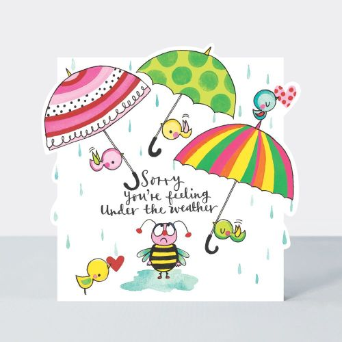 Get Well Soon Card UMBRELLA & Rain - Sorry YOU'RE FEELING under the weather