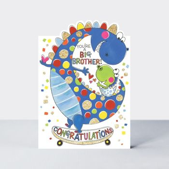 New Big Brother Cards & BROTHER to BE - YOU'RE A BIG Brother - DINOSAURS - Dinosaur GREETING Card - CONGRATULATIONS - Card for BROTHER - Baby DINOSAUR