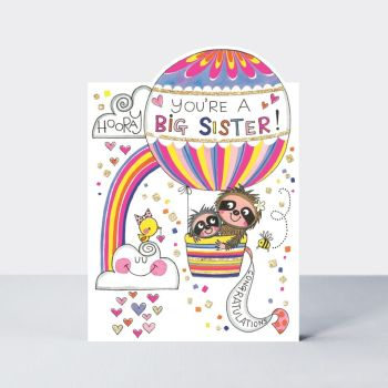New Big Sister Cards & SISTER to BE - HOORAY You're A BIG Sister - SLOTHS in BALLOON - Sloth GREETING Card - CONGRATULATIONS - Card for SISTER