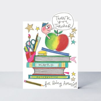 Thank You Teacher Cards - THANK You TEACHER - FOR Being AMAZING - Teacher CARDS - Apple & BOOKS Teacher CARD - CARD For TEACHER