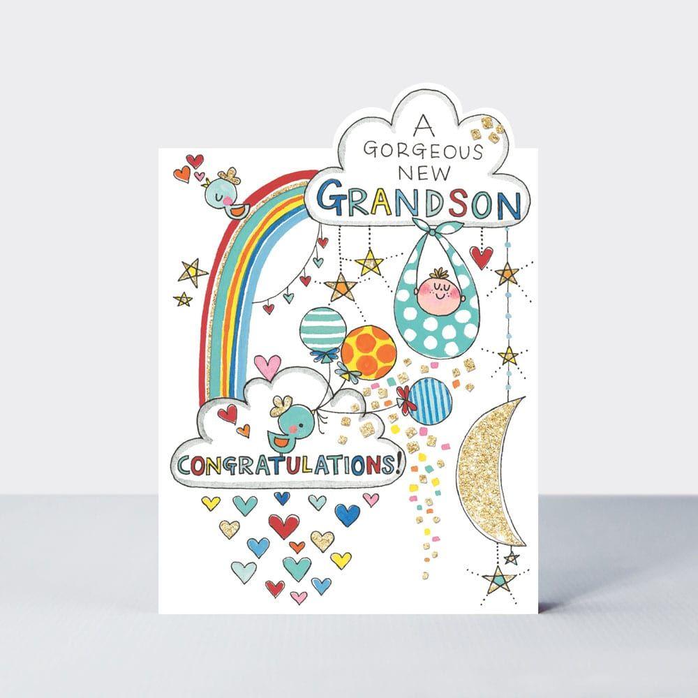 New Grandson Cards - A GORGEOUS New GRANDSON - CONGRATULATIONS - Gorgeous N
