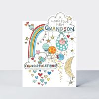New Grandson Cards - A GORGEOUS New GRANDSON - CONGRATULATIONS - Gorgeous New Grandson CARDS - New BABY Card - BIRTH Congratulations CARD - GRANDSON