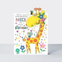 Birthday Cards For Niece - To A WONDERFUL Niece - NIECE Birthday CARDS - Cute GIRAFFE Birthday CARD - Children's Birthday CARDS