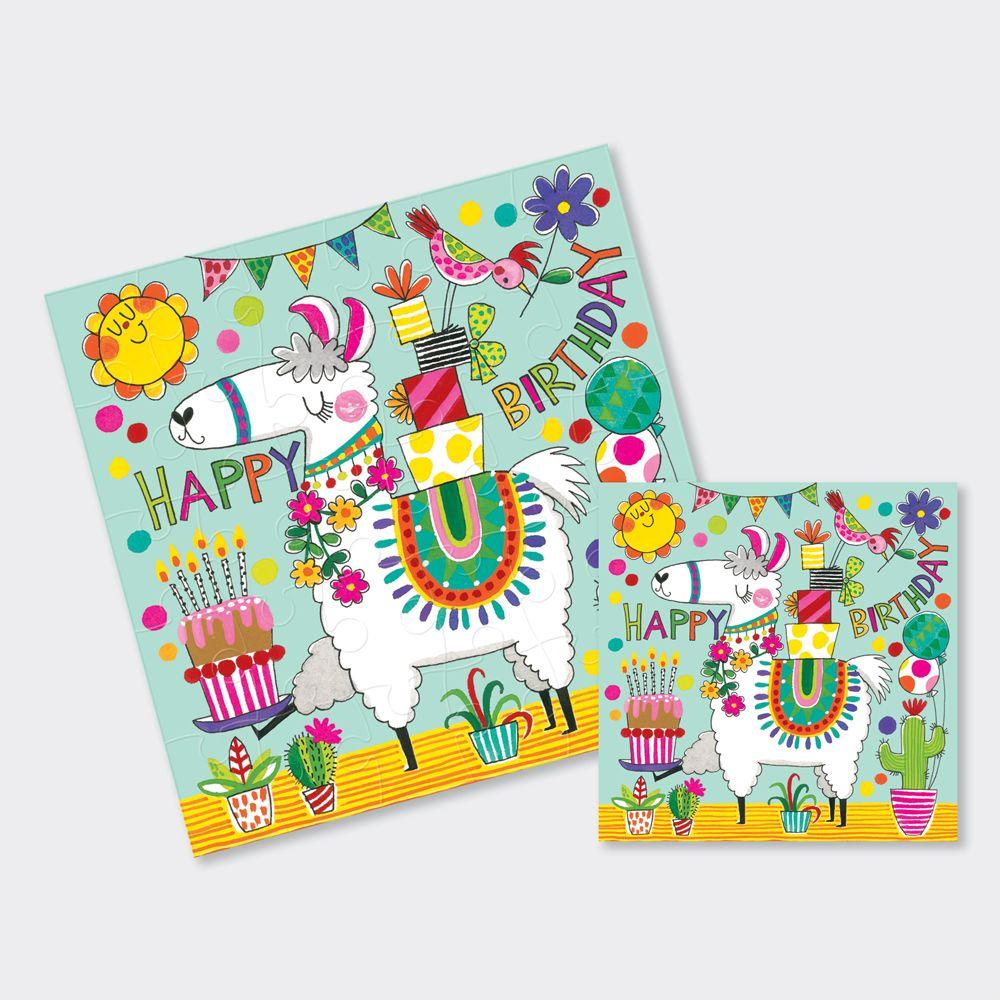 Llama Birthday Cards - Llama JIGSAW CARD - Happy BIRTHDAY - Children's BIRT