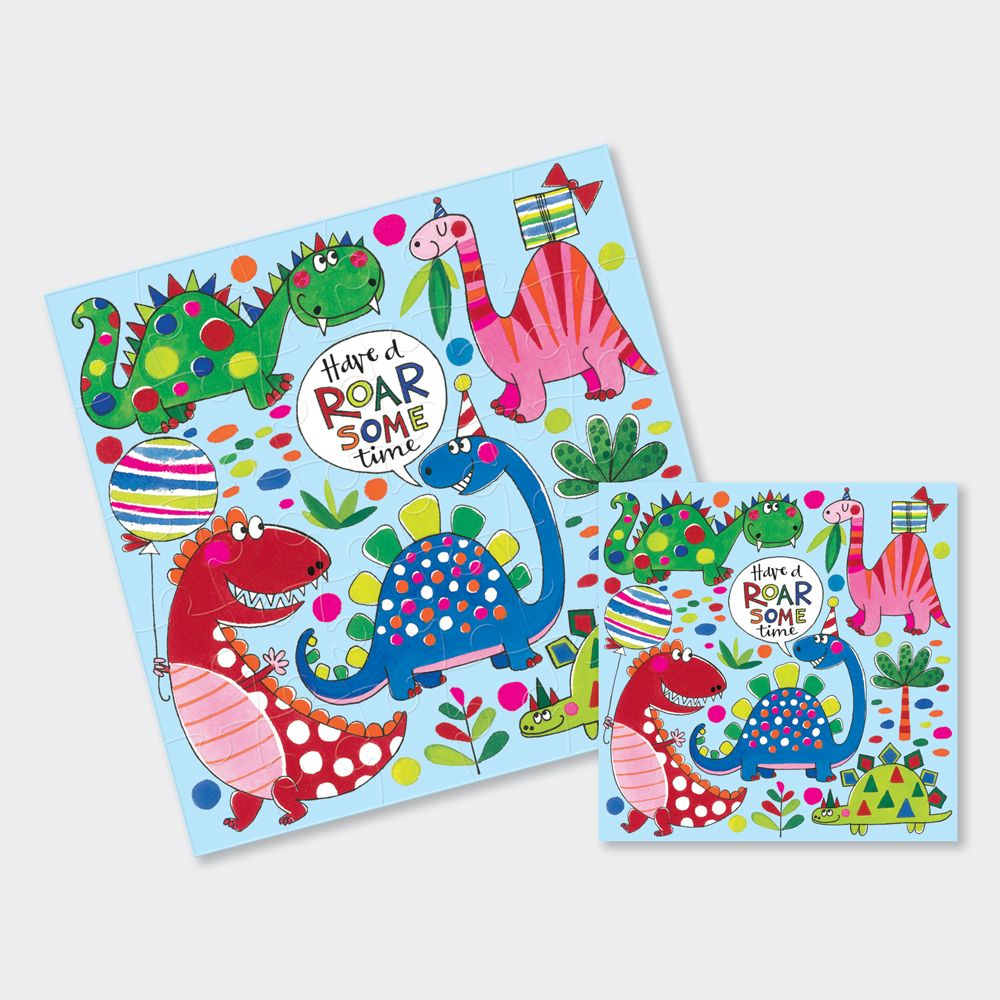 Dinosaur Birthday Card - Dinosaur JIGSAW CARD - Have A ROAR Some TIME - CUT