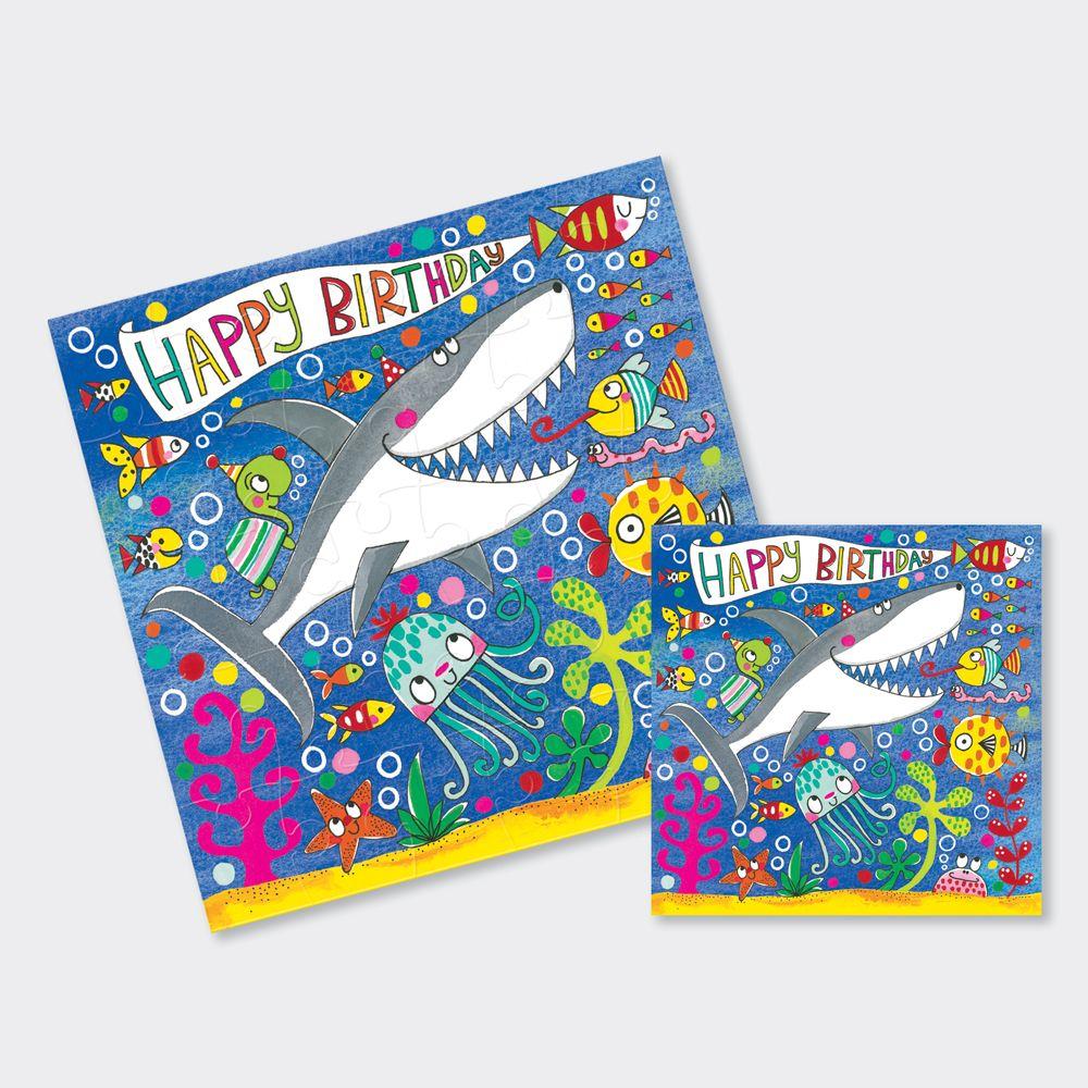 Shark Birthday Card - Shark JIGSAW CARDS - Happy BIRTHDAY - CUTE Shark & FI