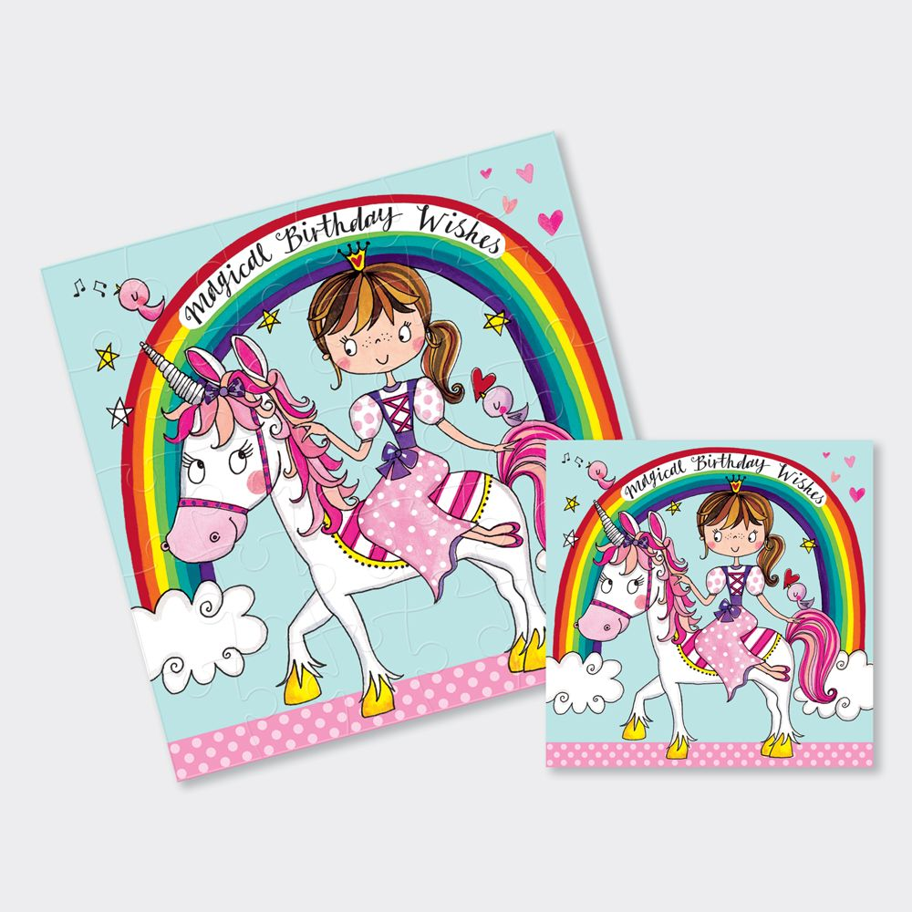 Princess & Unicorn Card - PRINCESS & Unicorn JIGSAW CARDS - Magical BIRTHDA