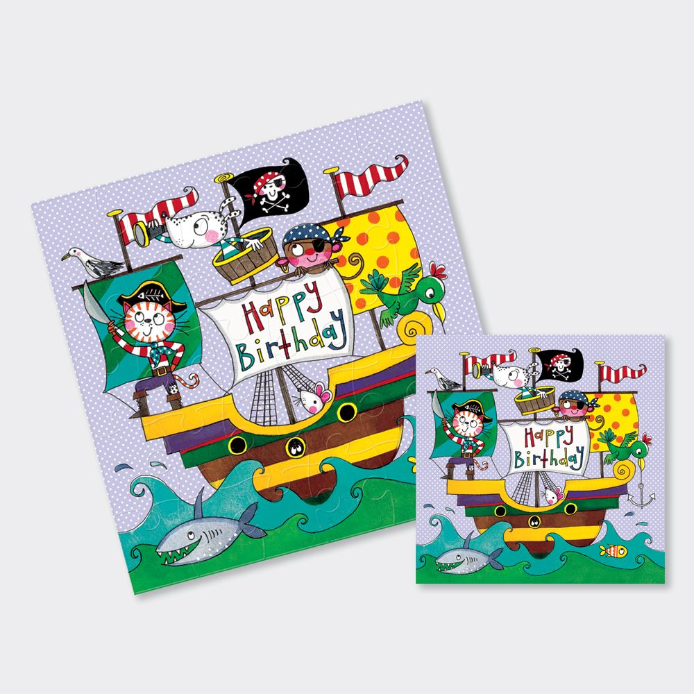 Pirate Birthday Cards - Pirate Ship JIGSAW CARDS - HAPPY Birthday - PIRATE
