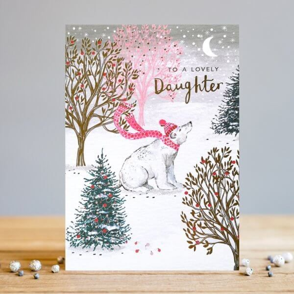 Daughter Christmas Cards - To A Lovely DAUGHTER - Polar BEAR Christmas CARD