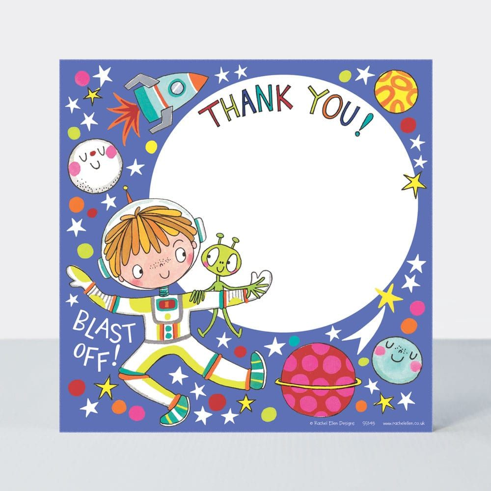 Set of 8 Astronaut Thank You Cards - GLITTERY Astronaut Thank YOU Cards - C