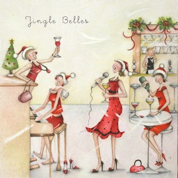 Funny Wine Alcohol Christmas Cards - JINGLE Belles - CHRISTMAS Cards - Chri