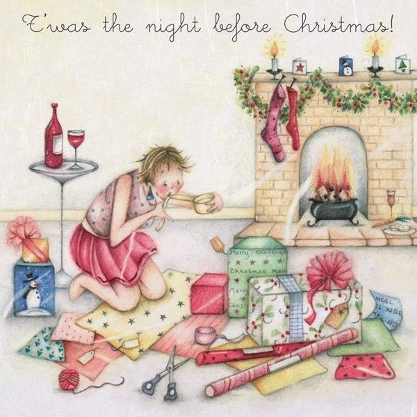 The Night Before Christmas Greeting Card - FUNNY Present WRAPPING Christmas