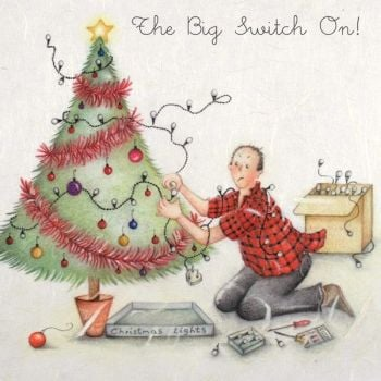 Christmas Cards For Him - The BIG Switch ON - FUNNY Christmas CARDS - XMAS Tree CARD - Christmas CARD Men - Christmas CARD For DAD - Uncle - Brother