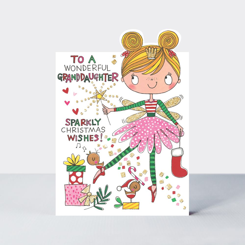 Wonderful Granddaughter Christmas Cards - SPARKLY Christmas WISHES - Grandd