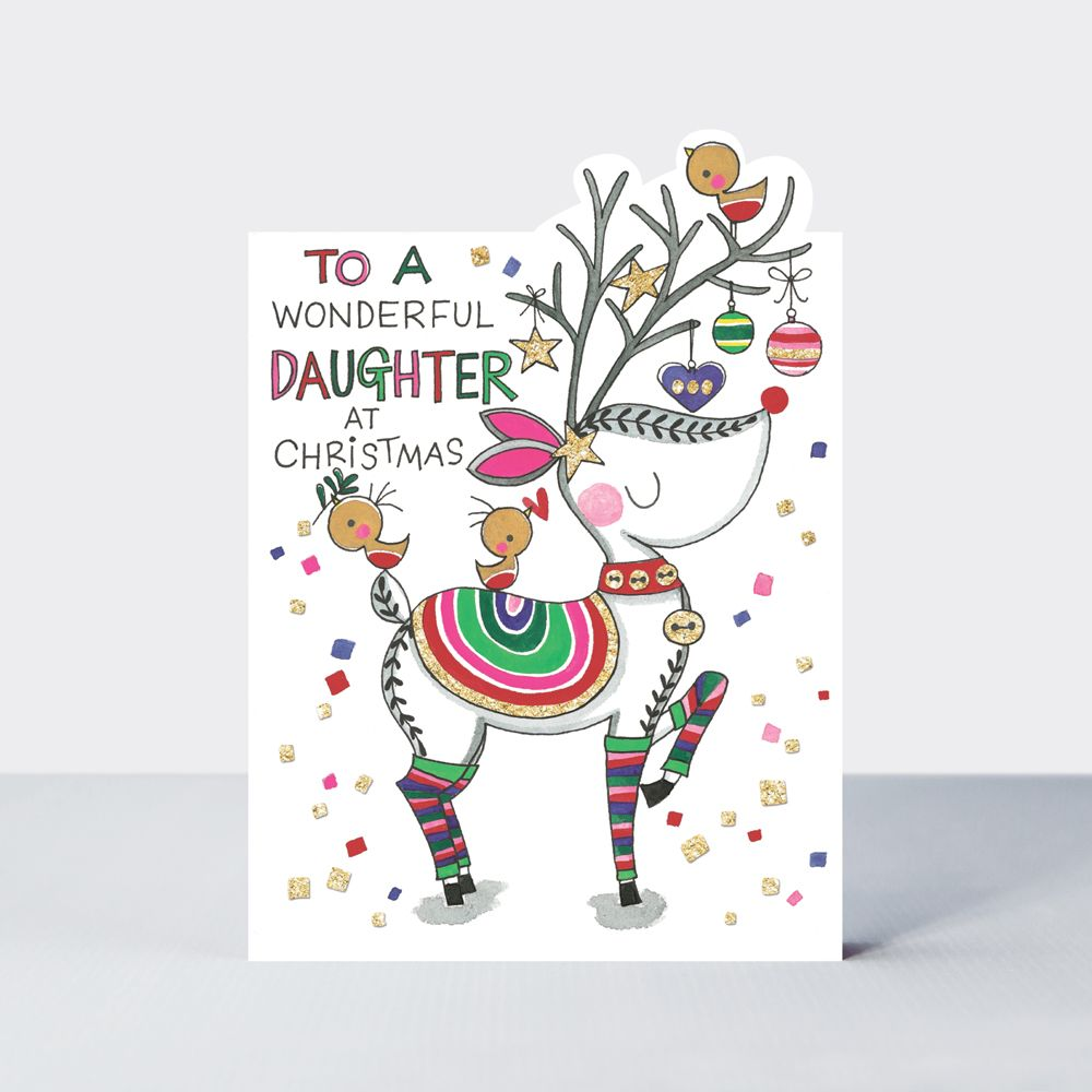 Daughter Christmas Cards - To A WONDERFUL DAUGHTER At Christmas - REINDEER