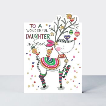 Daughter Christmas Cards - To A WONDERFUL DAUGHTER At Christmas - REINDEER Christmas CARD - Daughter Christmas CARD - Family XMAS Cards