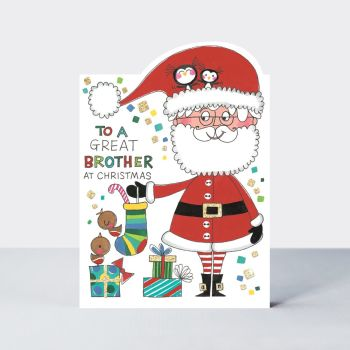 Brother Christmas Cards - To A GREAT BROTHER At CHRISTMAS - Brother & FAMILY Christmas CARDS - Cute FATHER Christmas XMAS Cards - CHRISTMAS Cards