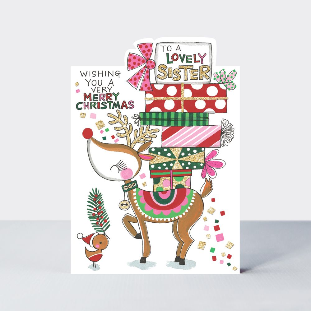 To A Lovely Sister Christmas Card - WISHING You A VERY Merry CHRISTMAS - Cu