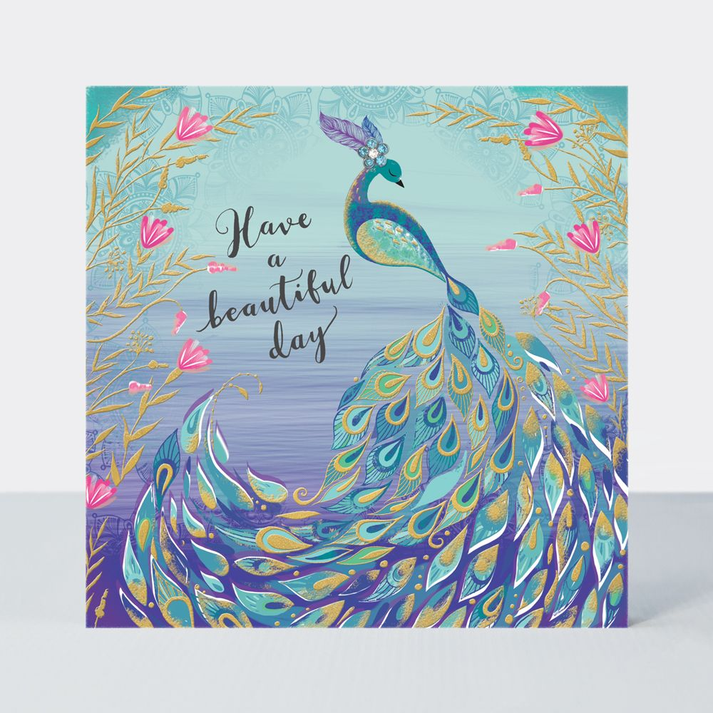 Happy Birthday Peacock Card -  HAVE A Beautiful DAY - PEACOCK Card - Peacoc
