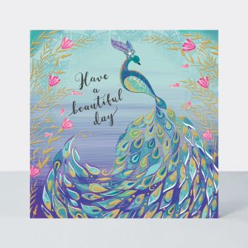 Happy Birthday Peacock Card -  HAVE A Beautiful DAY - PEACOCK Card - Peacock BIRTHDAY Card - PRETTY Birthday CARD FOR Mum - Gran - SISTER - Friend