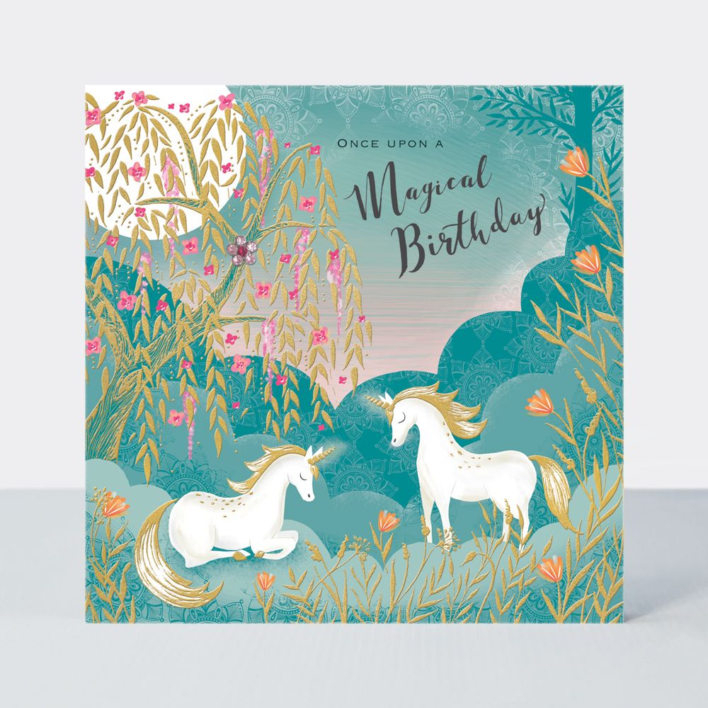 Unicorn Birthday Cards - Once UPON A Magical BIRTHDAY - Unicorn CARD - Unic