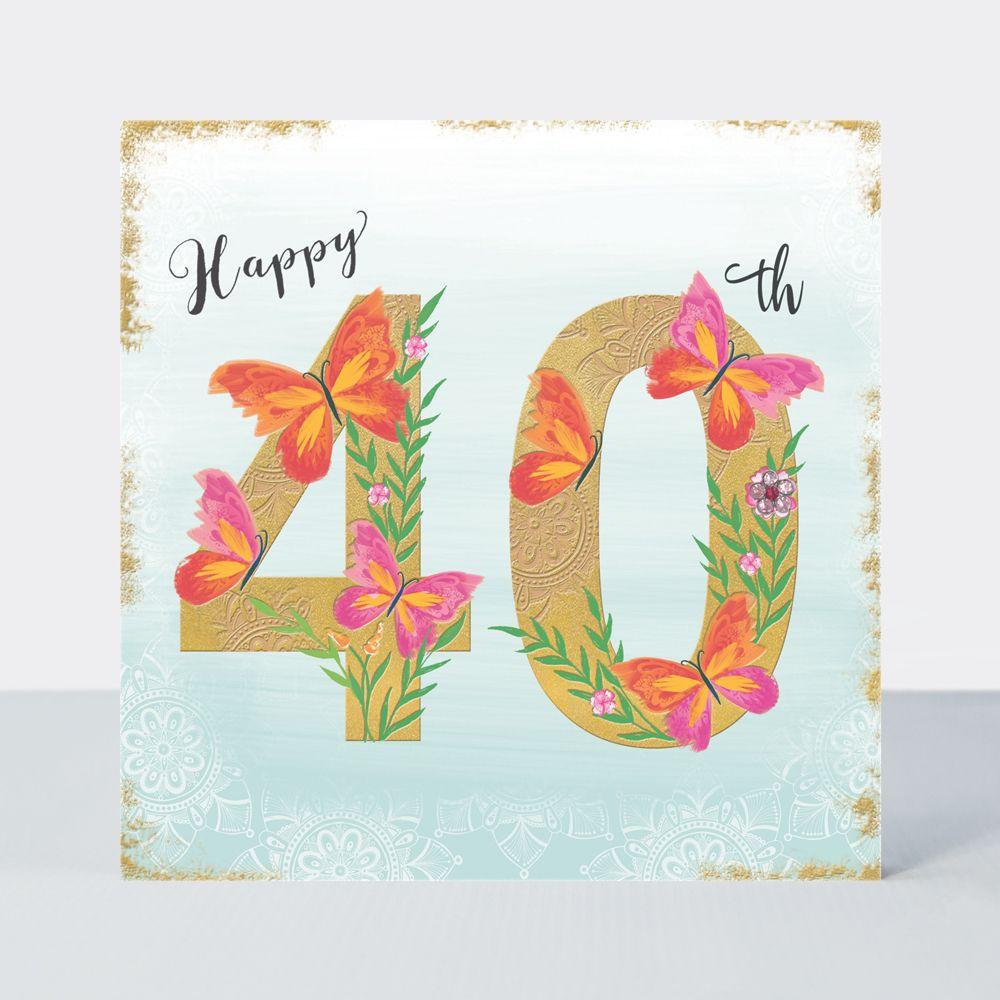 40th Birthday Cards - HAPPY 40th - Luxurious 40th BIRTHDAY Card - Birthday